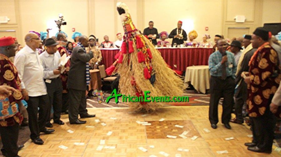 Picture of Ibo masquerade performing at an African event