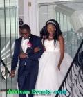 The bride and groom step out
