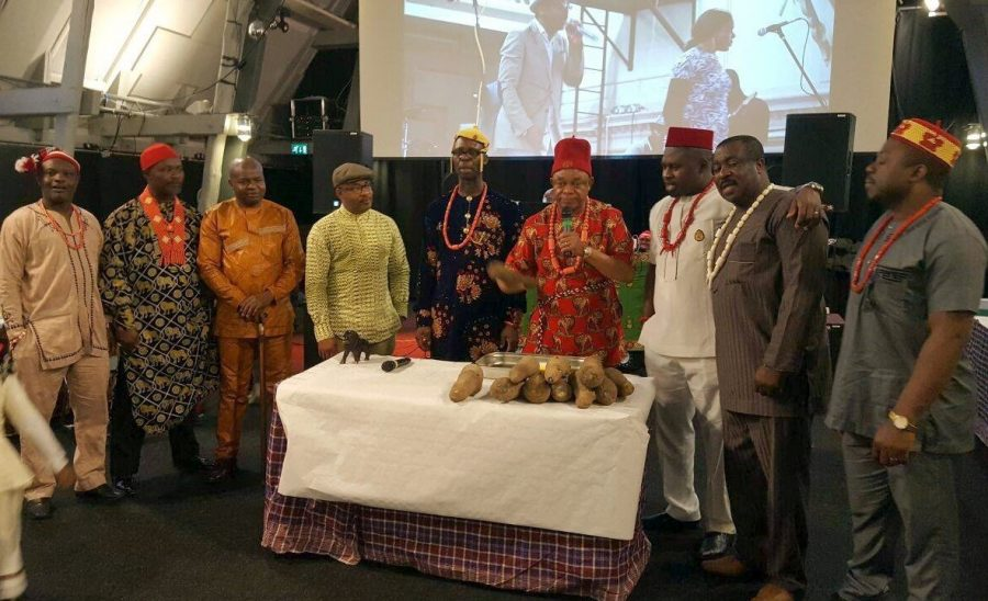 Elders lead the new yam eating ceremony