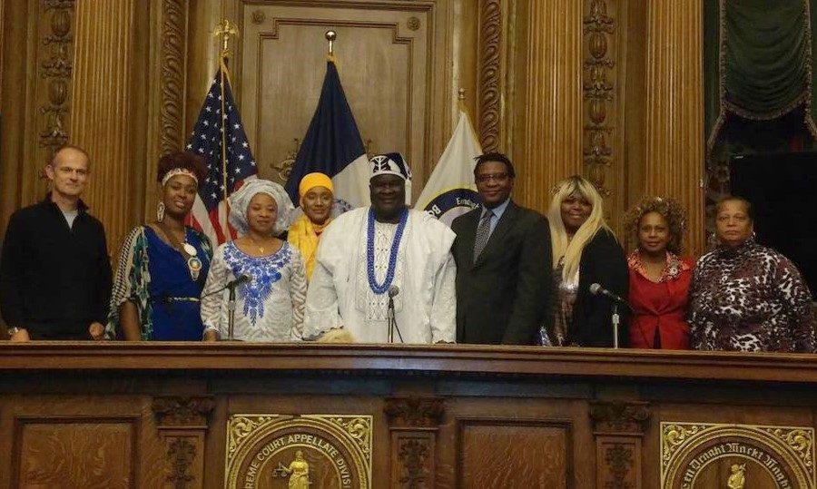 His Royal Highness, King James Buremoh Aroko Ola Ajagungbale I, Oba Onidera of Idera ❤️and his beautiful Olori ❤️at the Brooklyn Borough Hall receiving the Danny Glover Award